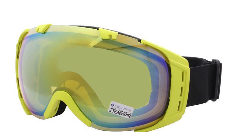 Anti Fog Ski Sunglasses Yellow Frame Custom Safety Snowboarding Goggles With Adjustable Strap -2